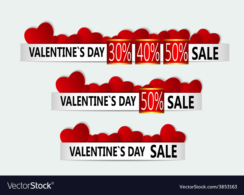 Happy valentines day sale banner vector | Price: 1 Credit (USD $1)