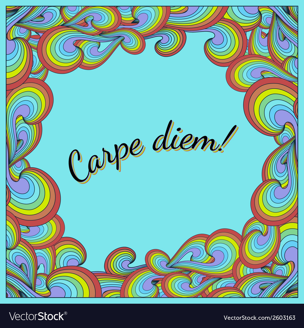 Positive postcard with carpe diem and rainbow vector | Price: 1 Credit (USD $1)