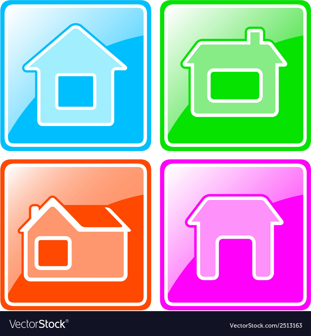 Set colorful icons with cottage vector | Price: 1 Credit (USD $1)