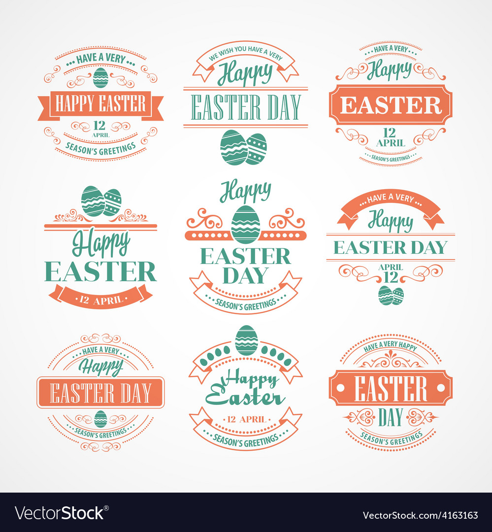 Set easter holiday typography vector | Price: 3 Credit (USD $3)