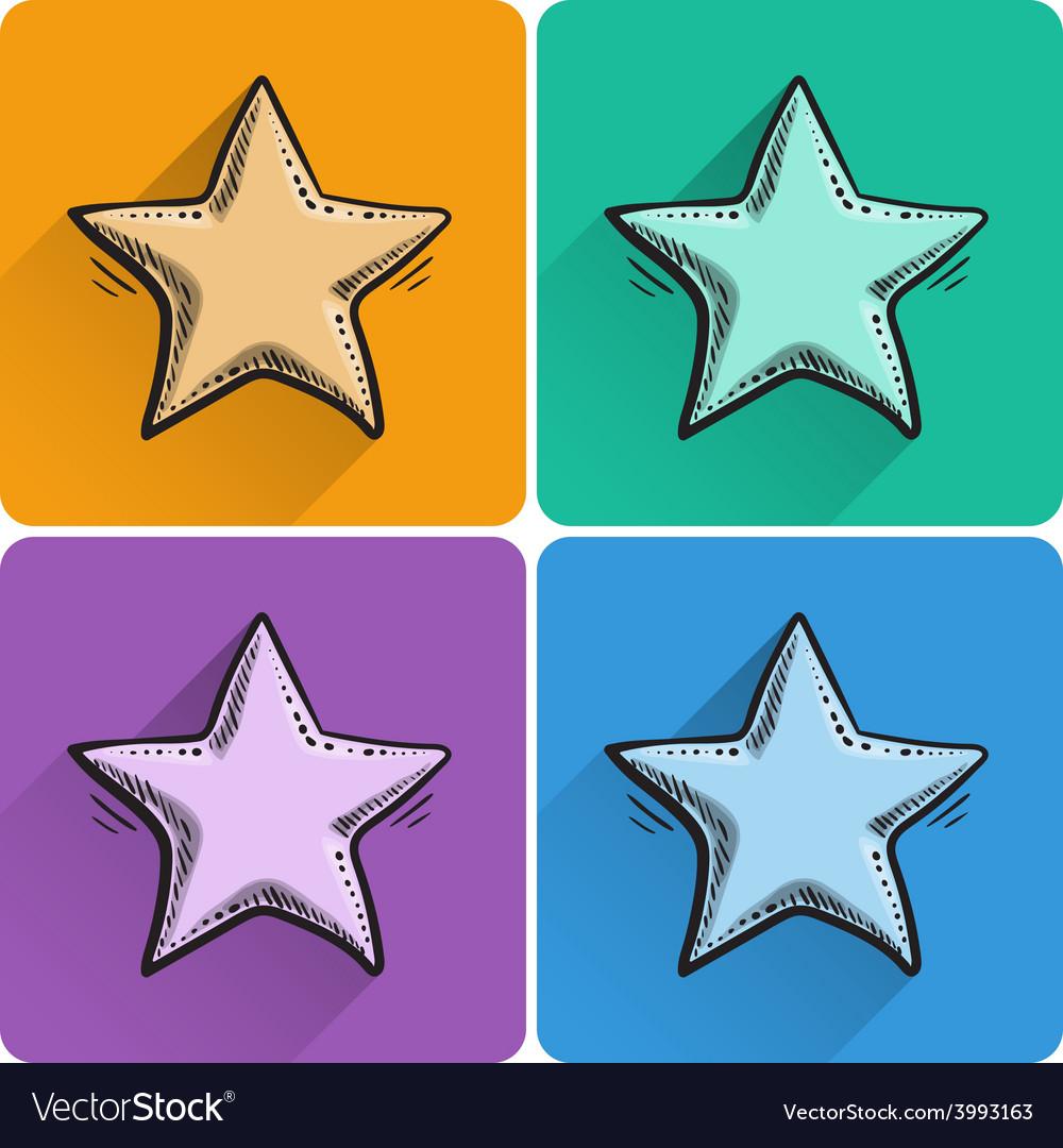 Set of drawn star icon vector | Price: 1 Credit (USD $1)