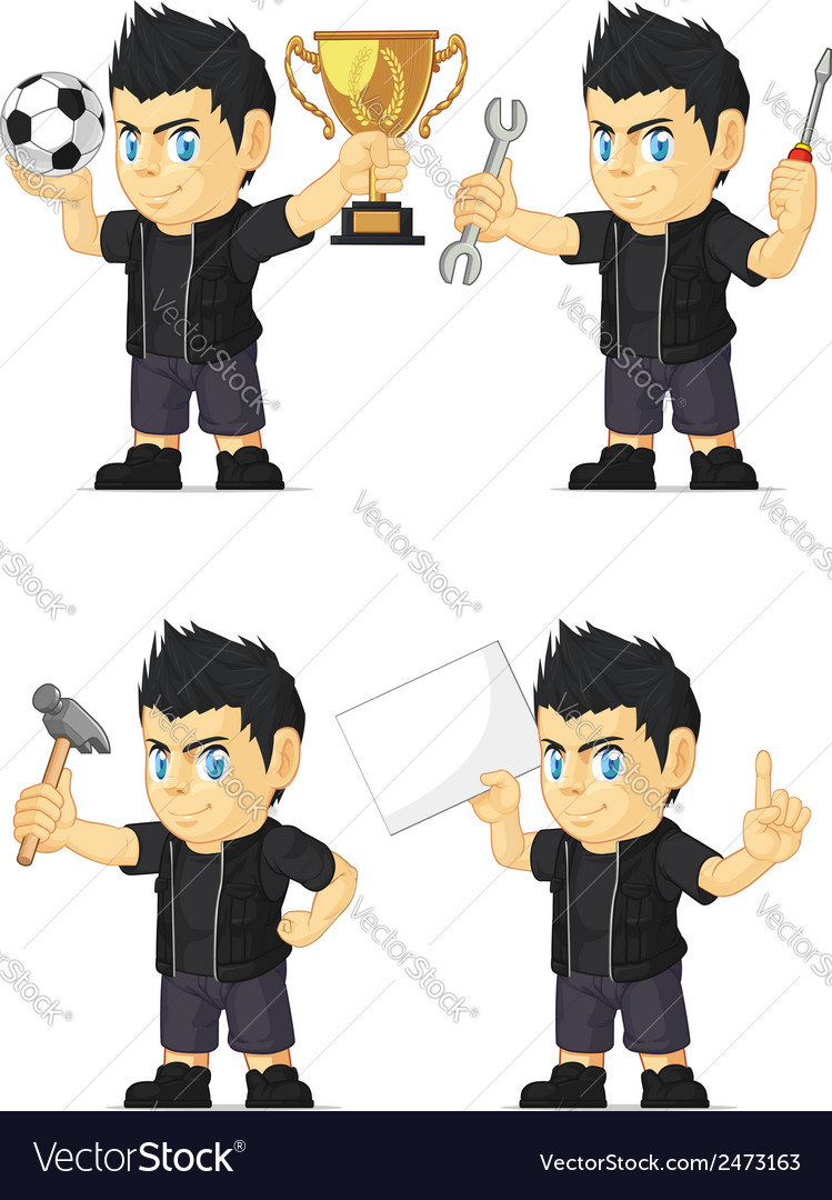Spiky rocker boy customizable mascot 16 vector | Price: 1 Credit (USD $1)