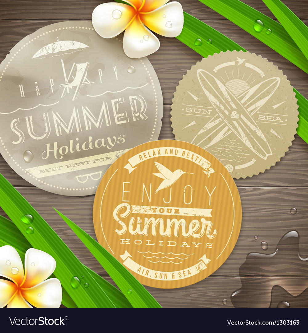 Vintage labels with vacation and travel emblems vector | Price: 1 Credit (USD $1)