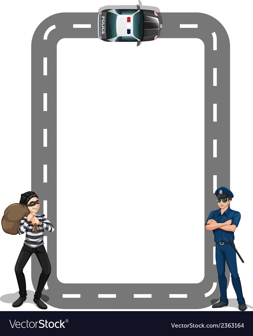 A borderline with a thief and a policeman vector | Price: 1 Credit (USD $1)