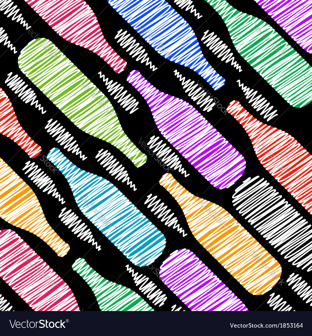 Background with colorful bottles sketched vector | Price: 1 Credit (USD $1)