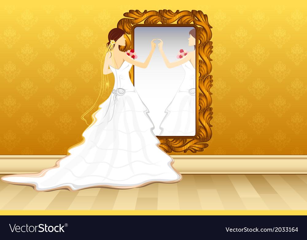 Bride in front of mirror vector | Price: 1 Credit (USD $1)