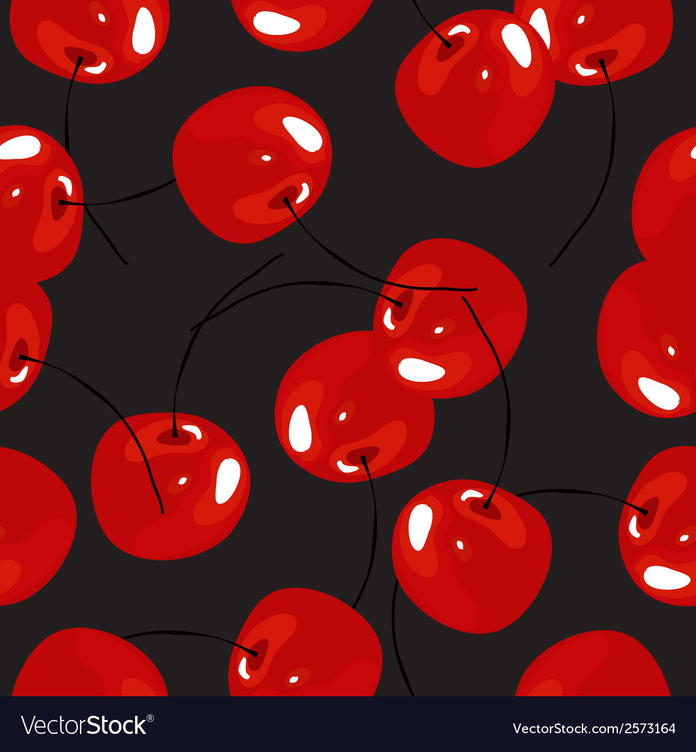 Cherry seamless pattern background summer vector | Price: 1 Credit (USD $1)