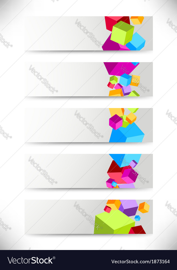 Collection of cards with colorful cubes vector | Price: 1 Credit (USD $1)