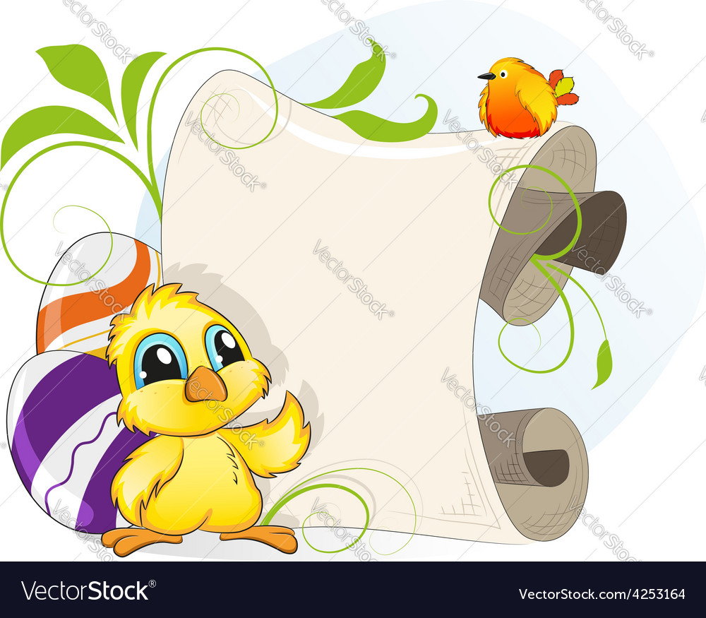 Easter invitation with chicken and eggs vector | Price: 3 Credit (USD $3)