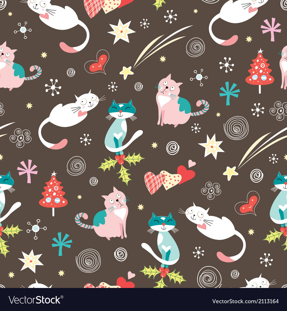 Festive pattern with cats vector | Price: 1 Credit (USD $1)