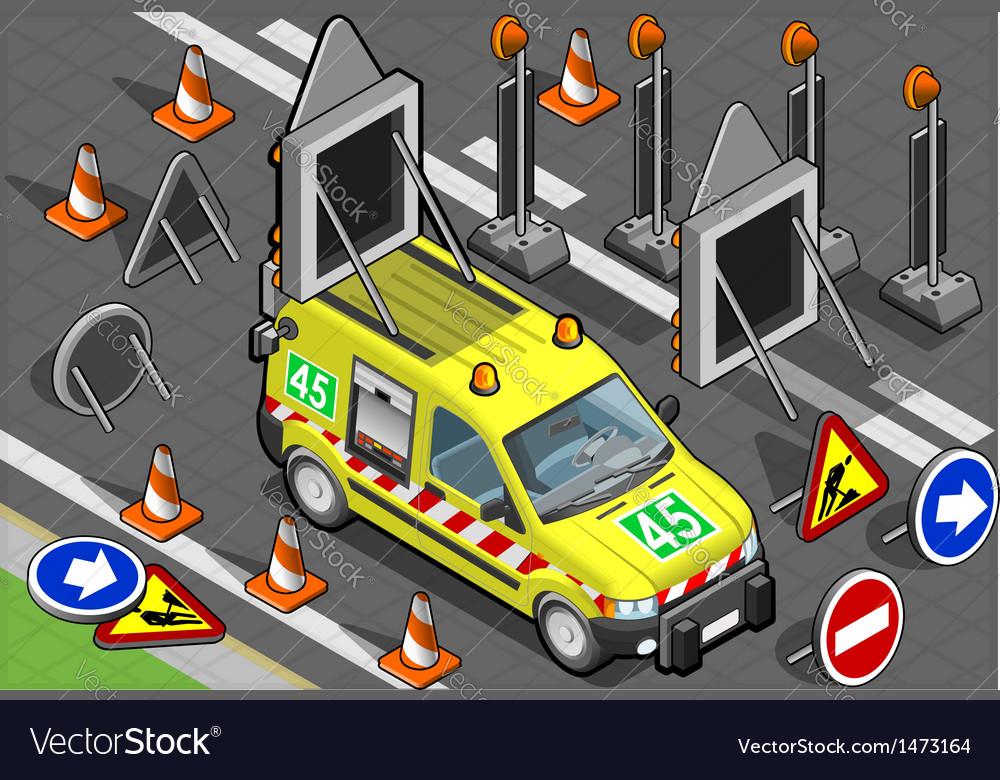 Isometric roadside assistance van vector | Price: 1 Credit (USD $1)