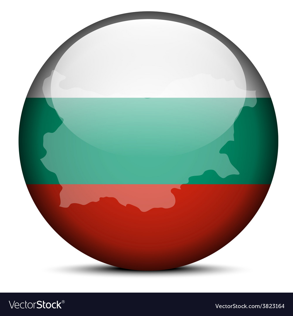 Map on flag button of republic of bulgaria vector | Price: 1 Credit (USD $1)