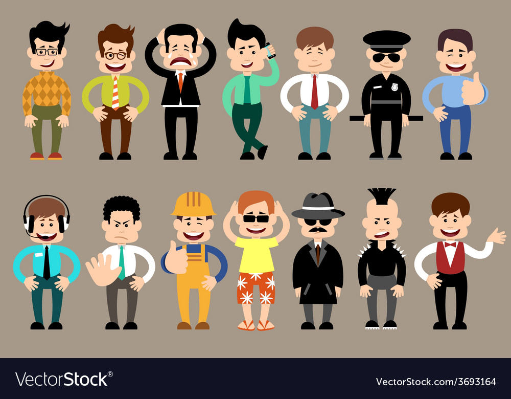 Set of men different characters poses vector | Price: 1 Credit (USD $1)