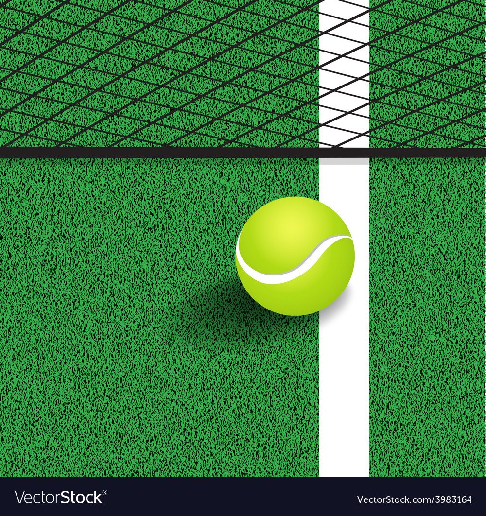 Tennis ball next to the line of the tennis court vector | Price: 1 Credit (USD $1)