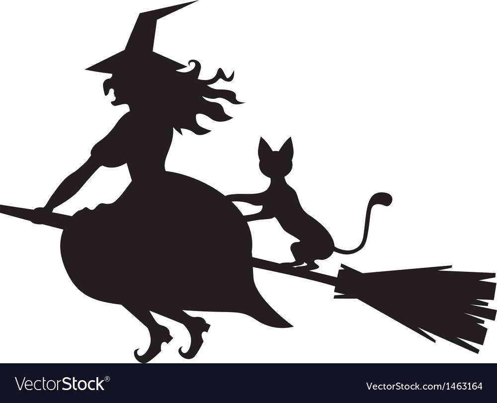 Witch and cat vector | Price: 1 Credit (USD $1)