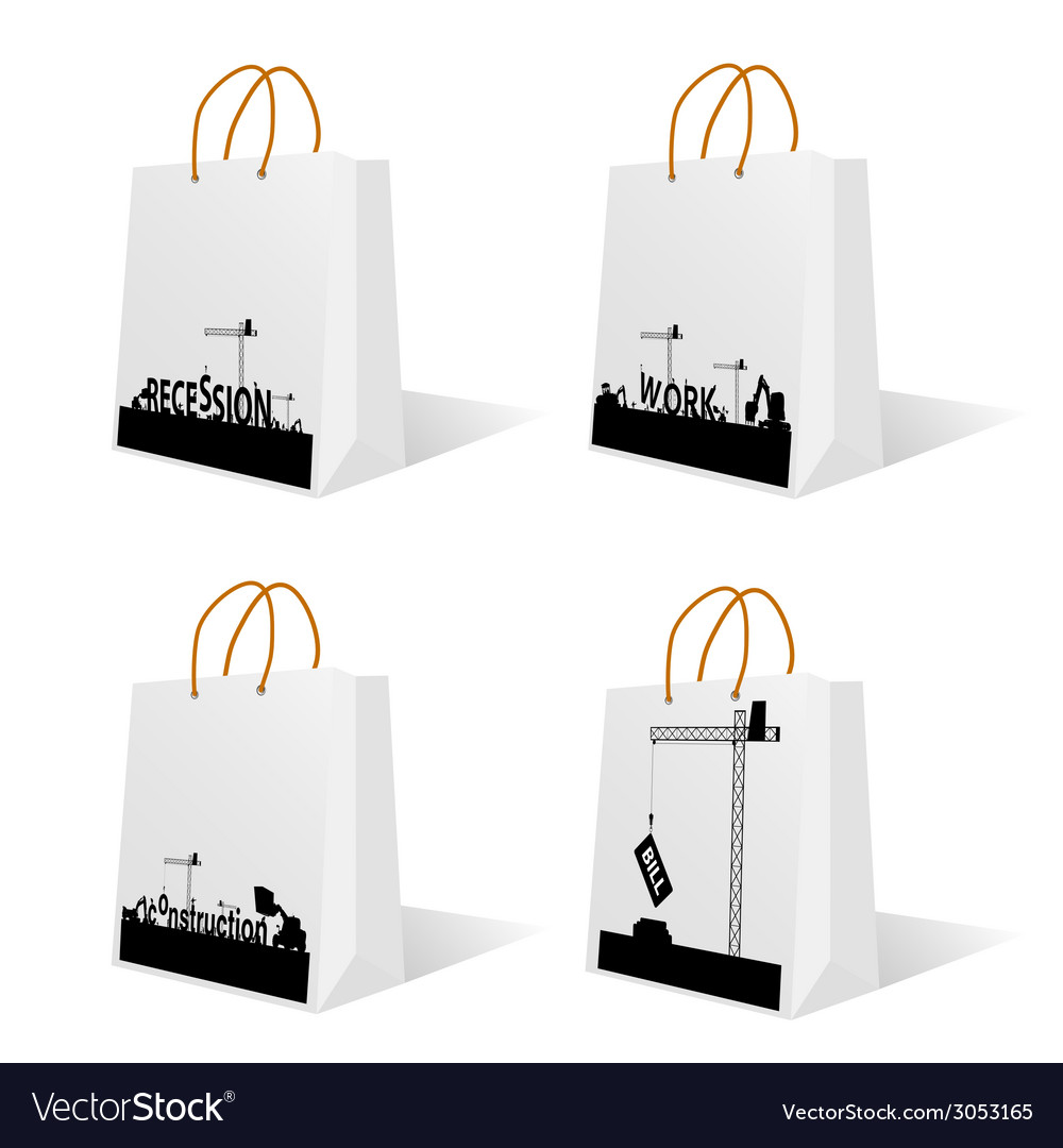 Bag with recession and work sign vector | Price: 1 Credit (USD $1)