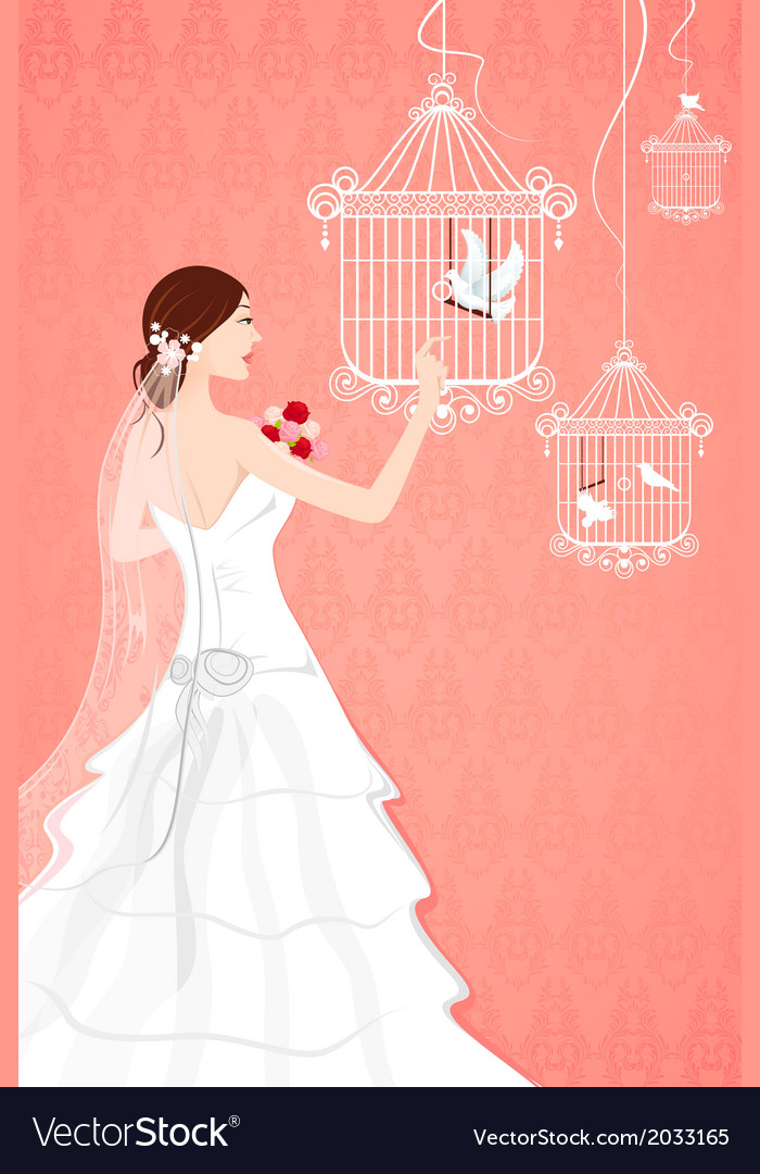Bride with bird cage vector | Price: 1 Credit (USD $1)