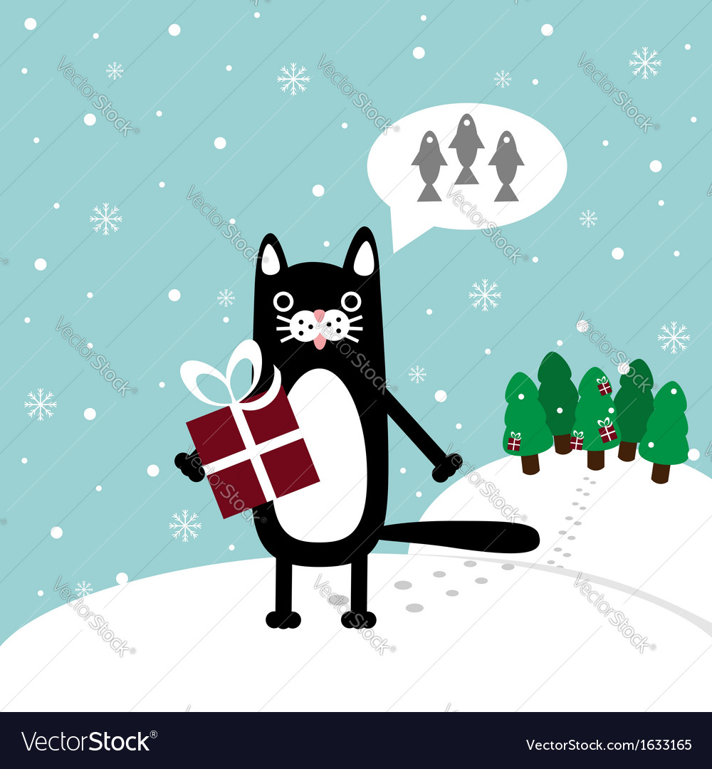 Cat with present vector | Price: 1 Credit (USD $1)