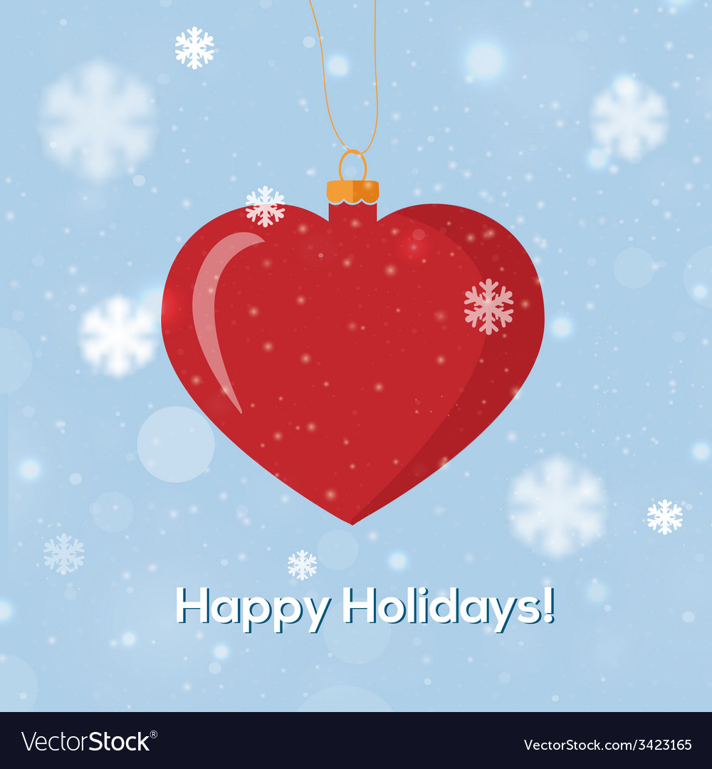 Greeting card happy holidays with heart decoration vector | Price: 1 Credit (USD $1)