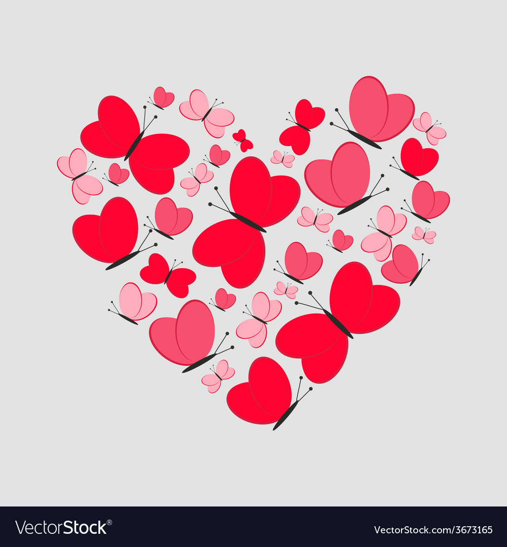 Love card cute heart from red butterflies vector | Price: 1 Credit (USD $1)