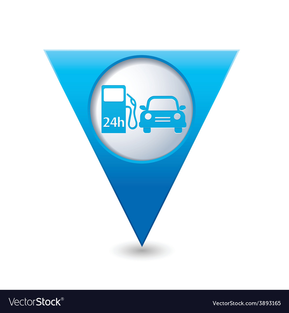 Petrol station and car blue triangular map pointer vector | Price: 1 Credit (USD $1)