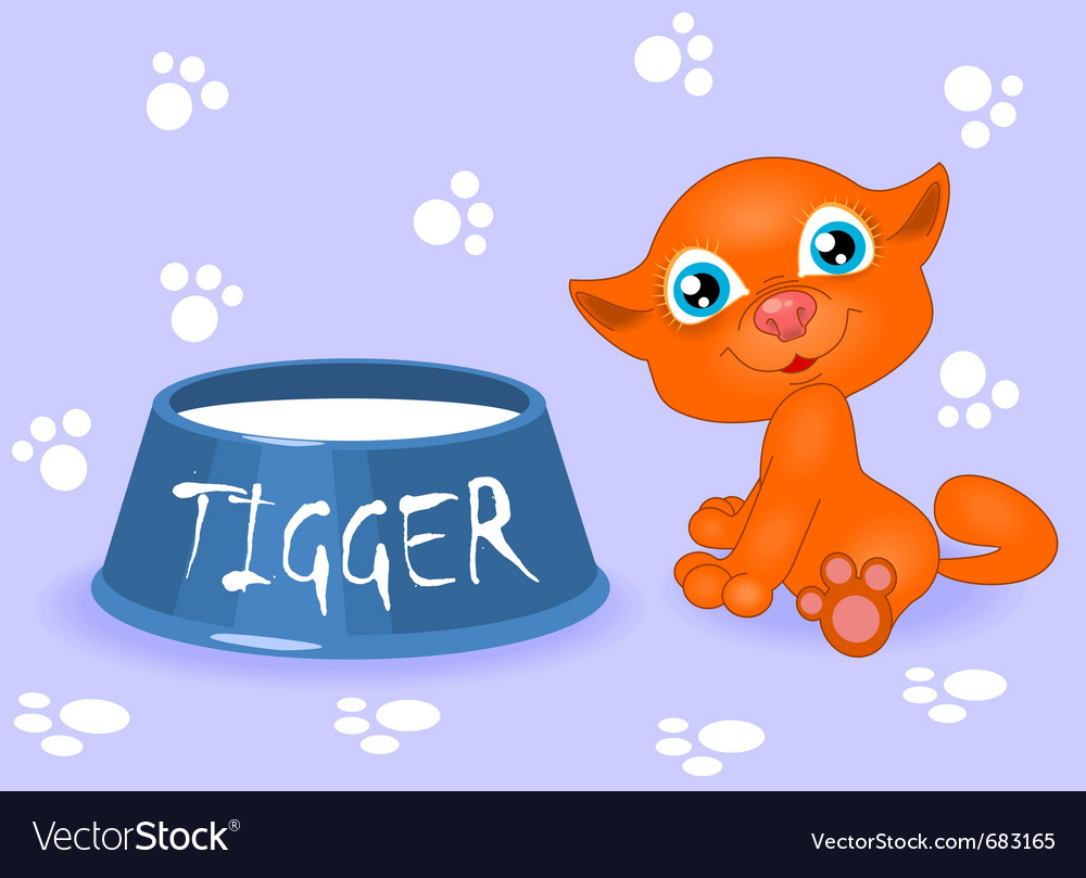 Red kitten with milk vector | Price: 1 Credit (USD $1)