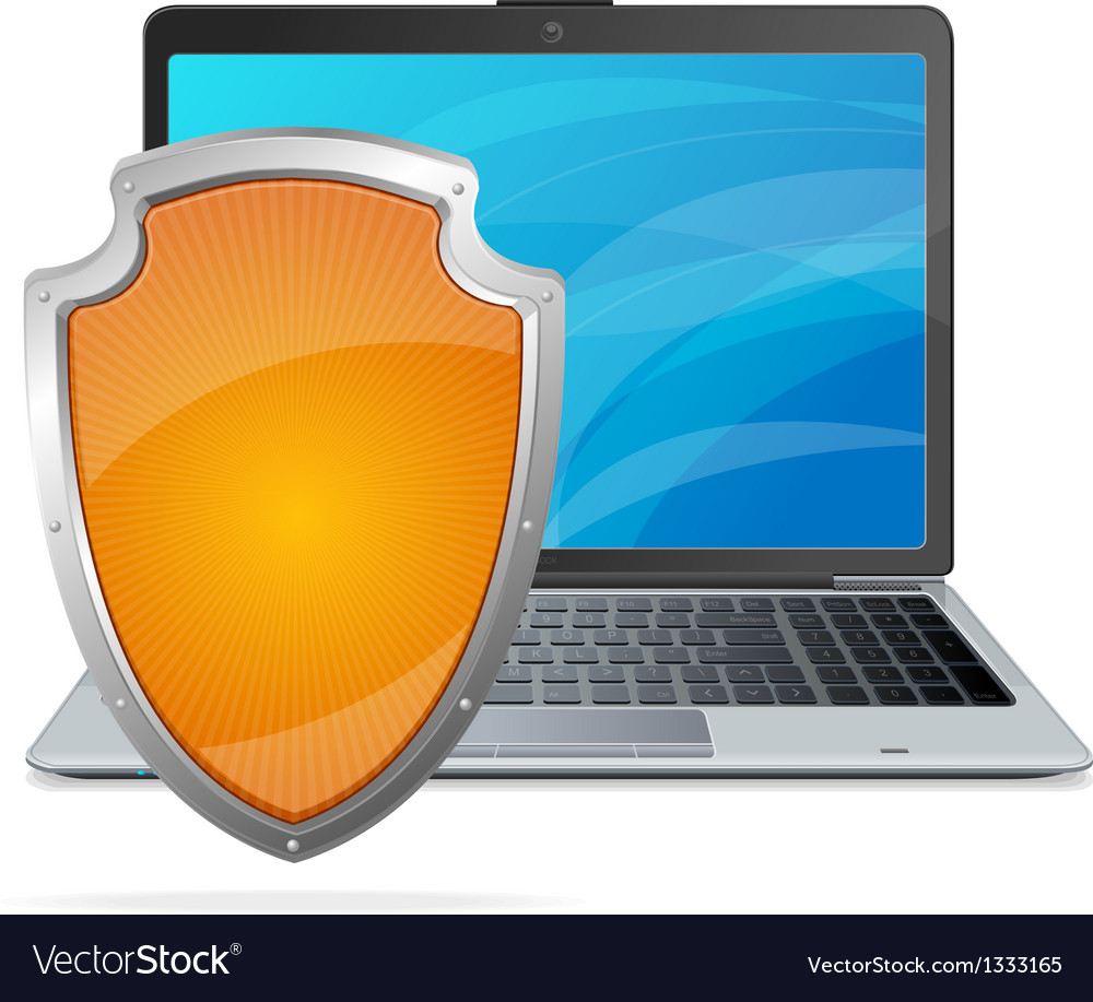 Security concept shield antivirus and laptop vector | Price: 1 Credit (USD $1)