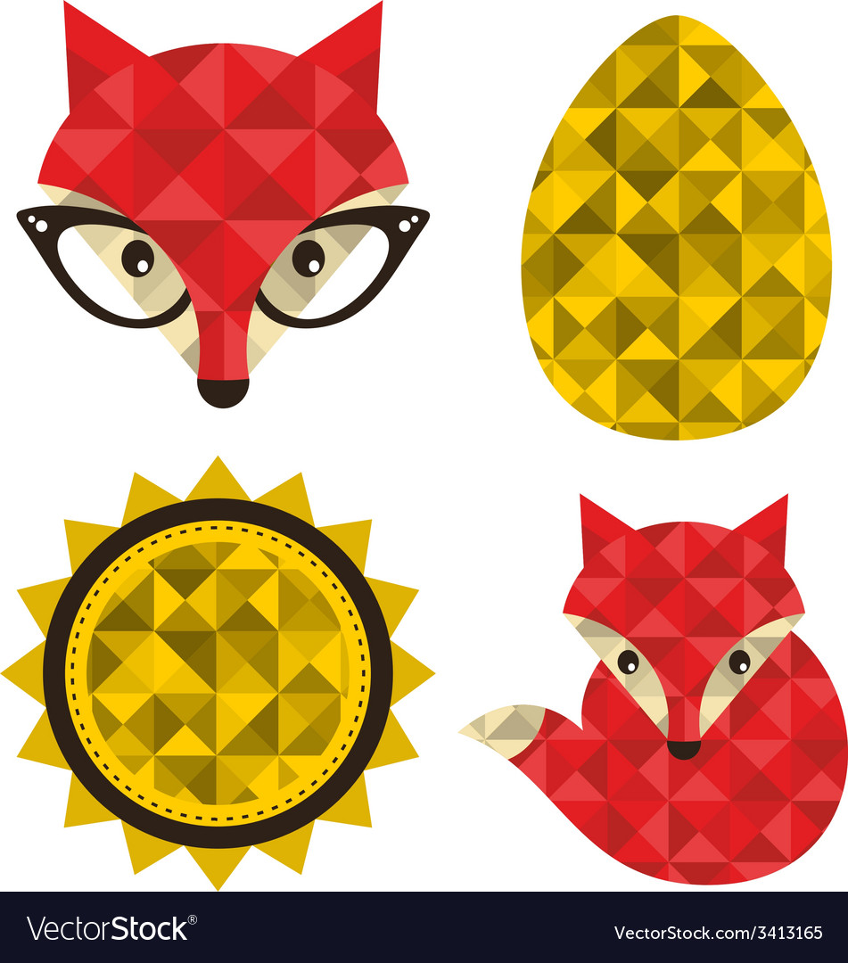 Set of hipster foxes vector | Price: 1 Credit (USD $1)