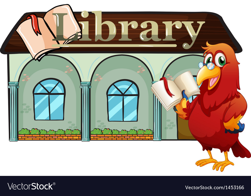 A parrot holding a book outside the library vector | Price: 1 Credit (USD $1)