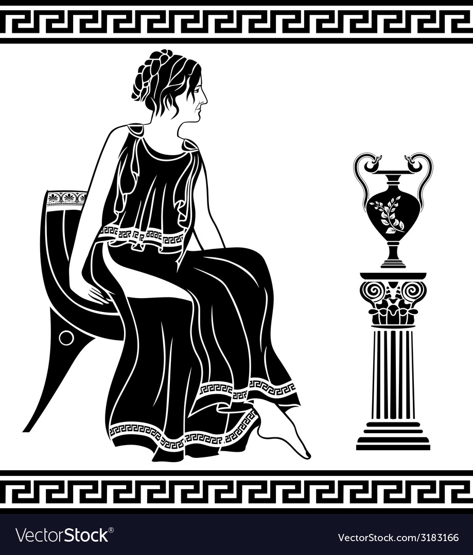 Ancient greek woman sitting on a chair vector | Price: 1 Credit (USD $1)