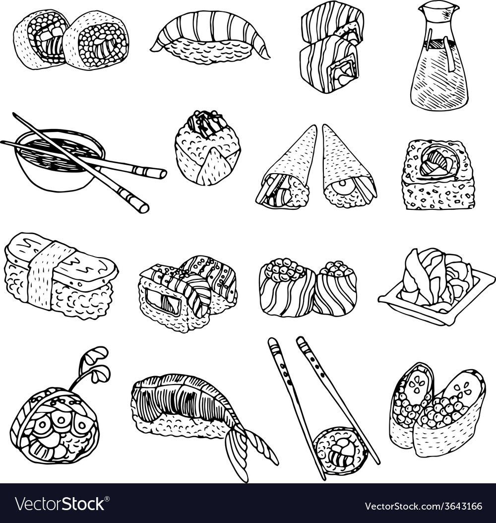 Asia food sushi icons set vector | Price: 1 Credit (USD $1)