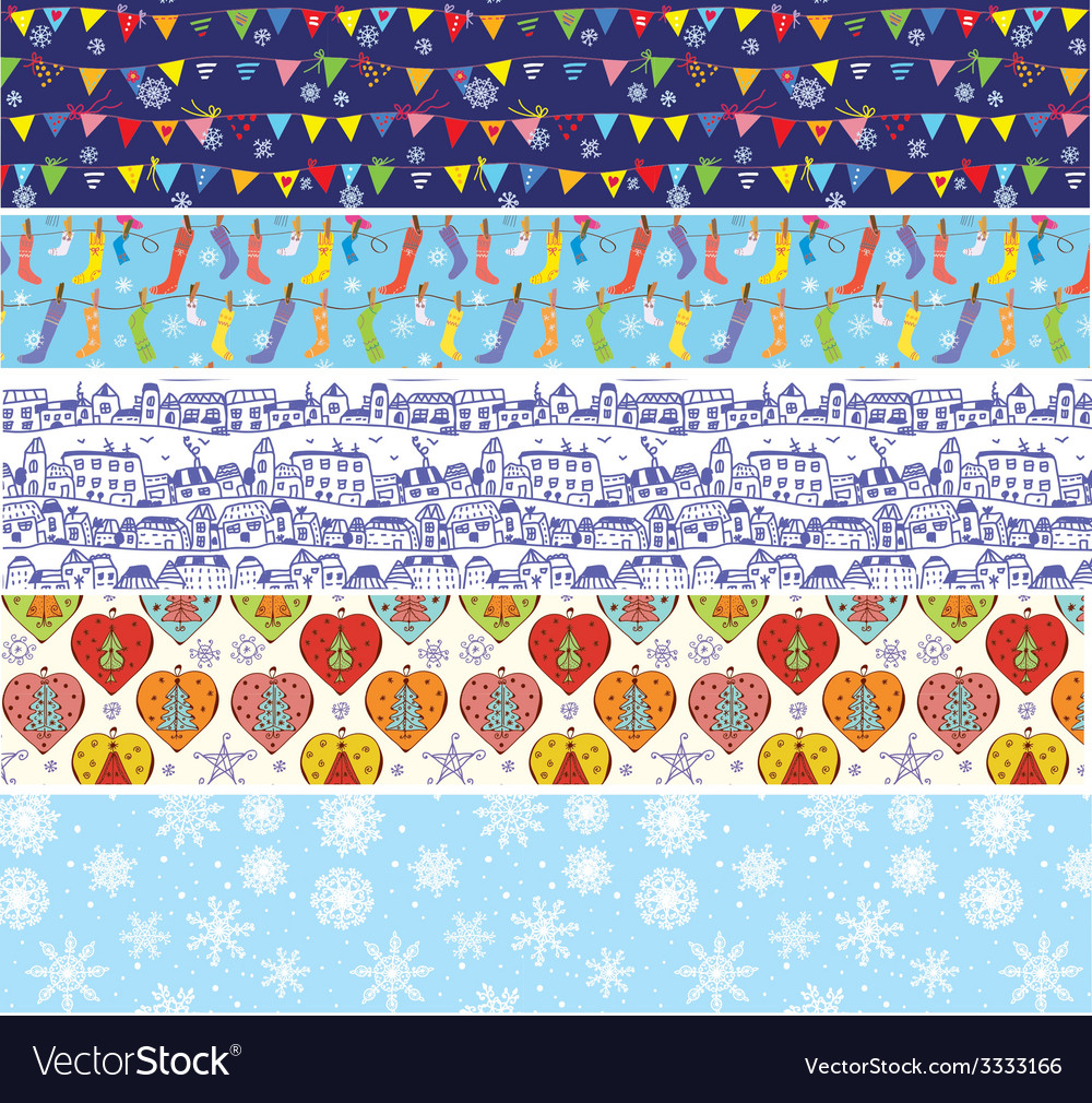 Christmas banners set with pattern of snow vector | Price: 1 Credit (USD $1)