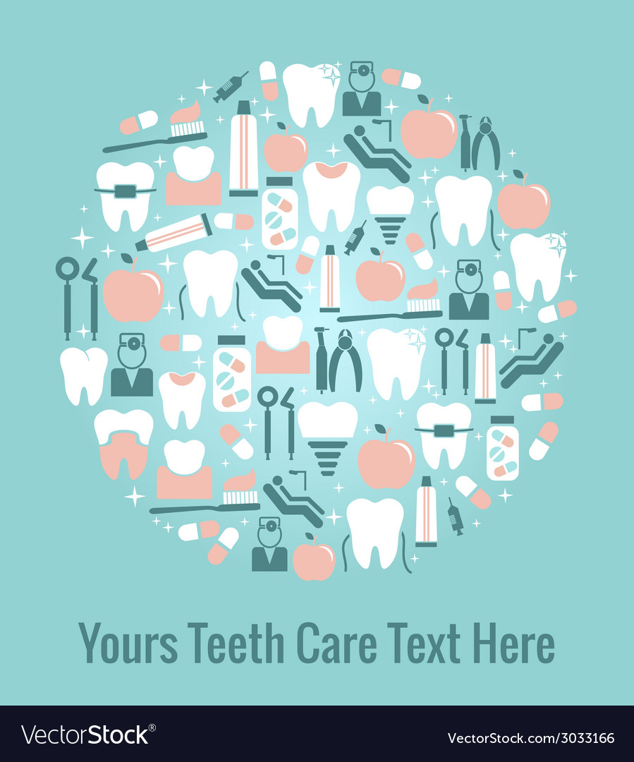 Dental care graphics arranged in circular pattern vector | Price: 1 Credit (USD $1)