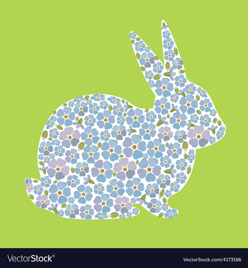 Design with bunny from flowers forget me nots vector | Price: 1 Credit (USD $1)