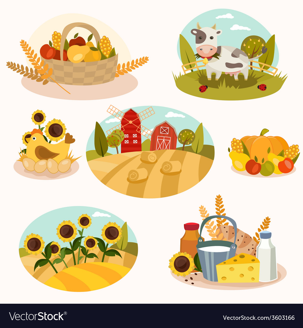 Eco farm flat icons vector | Price: 1 Credit (USD $1)