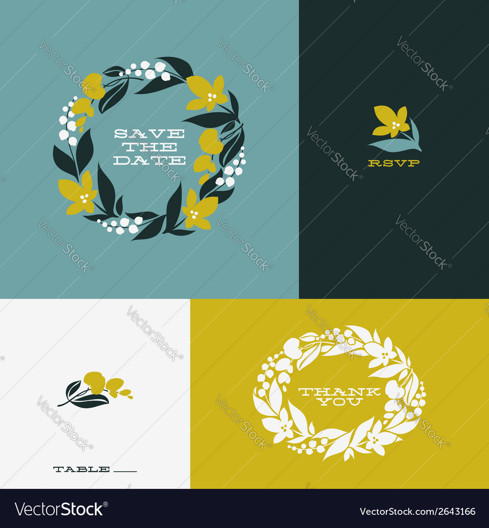 Floral wreath set of beautiful flat design element vector | Price: 1 Credit (USD $1)