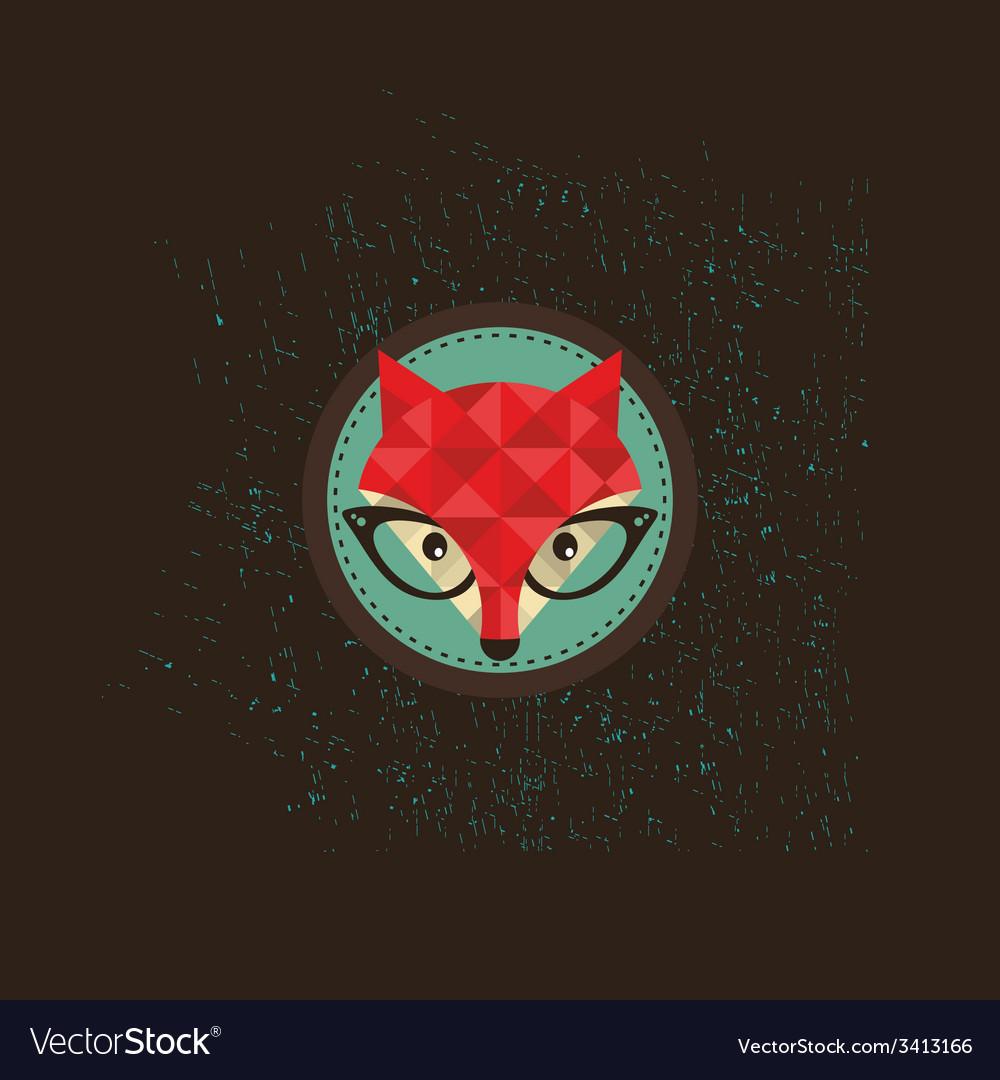 Hipster fox emblem vector | Price: 1 Credit (USD $1)