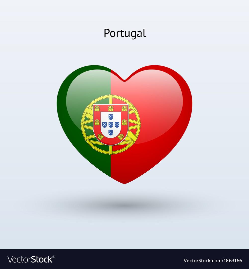 Love portugal symbol heart flag icon vector | Price: 1 Credit (USD $1)