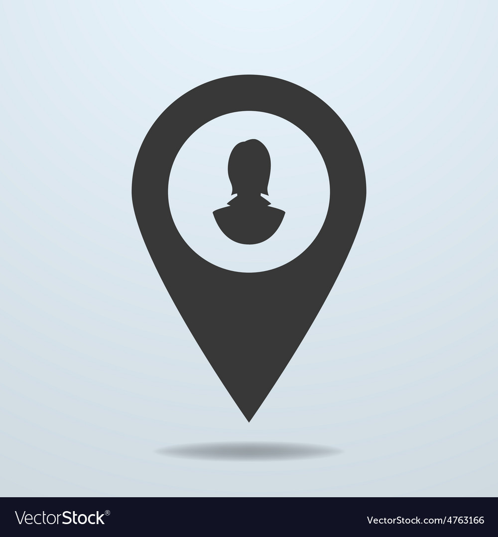 Map pointer with a female symbol vector | Price: 1 Credit (USD $1)