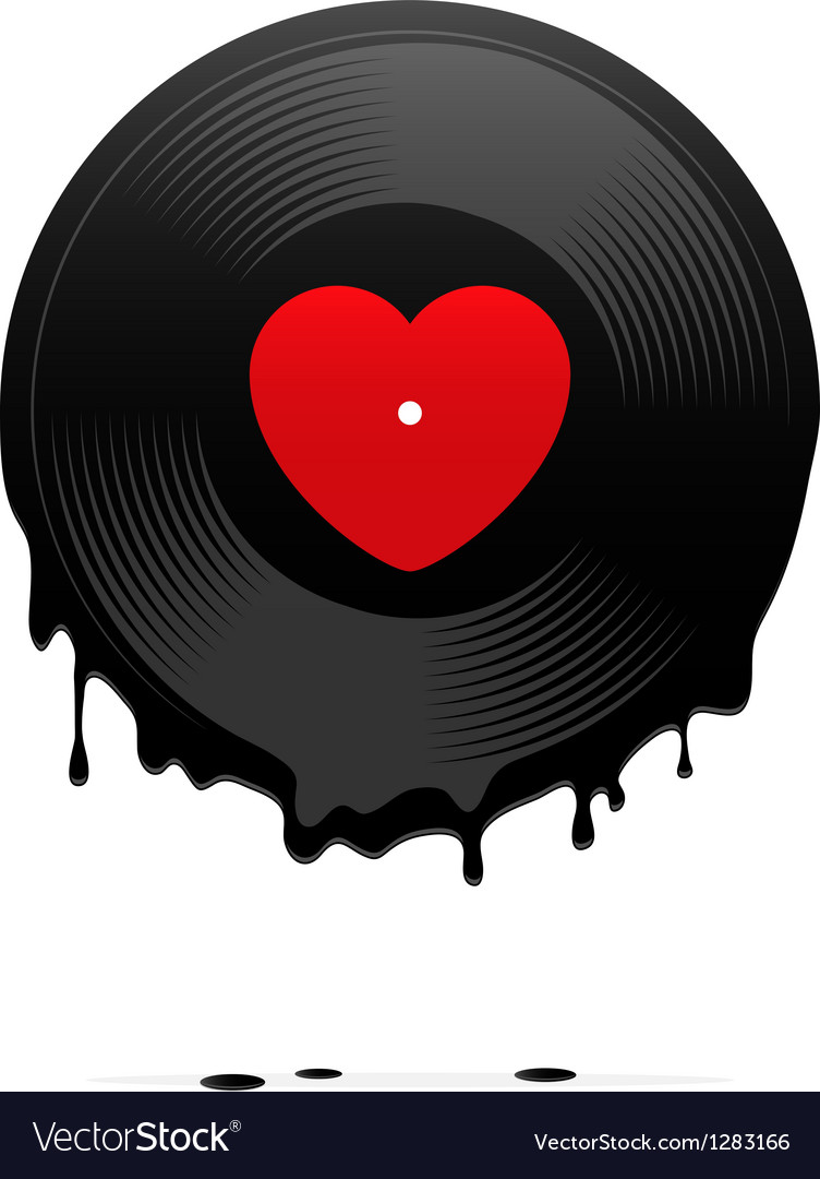Melted vinyl record with heart vector | Price: 3 Credit (USD $3)