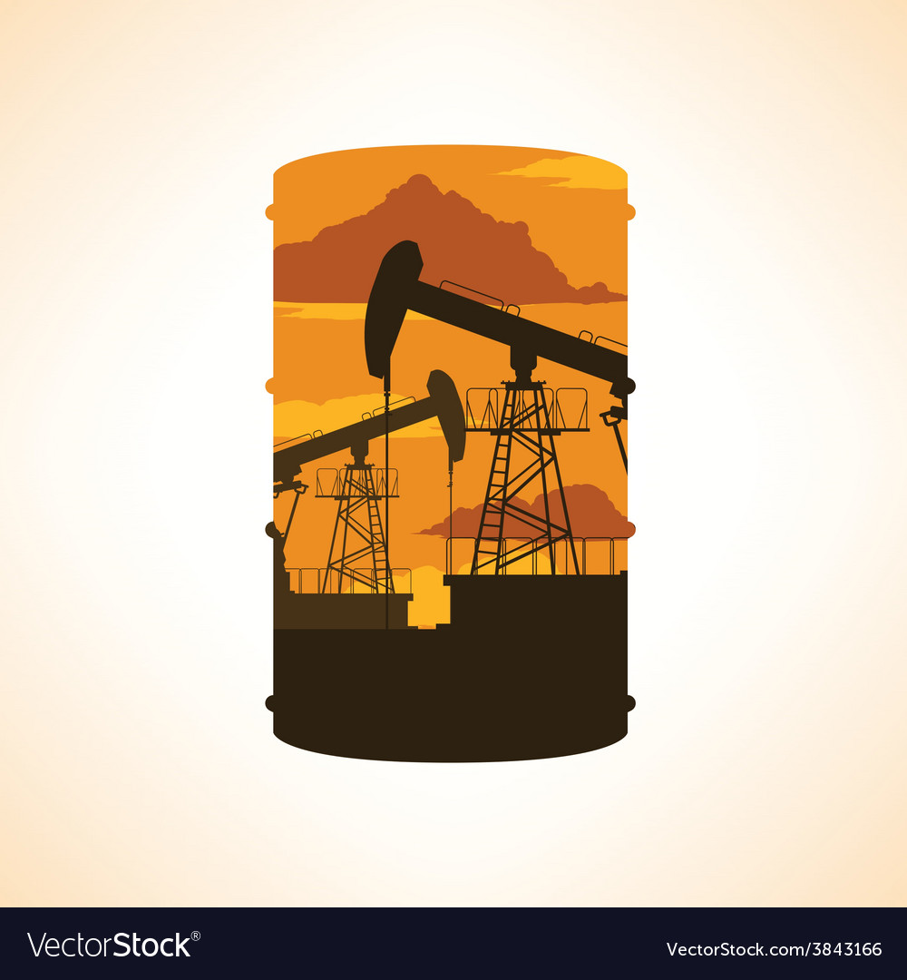 Oil barrel silhouette double exposure effect vector | Price: 1 Credit (USD $1)