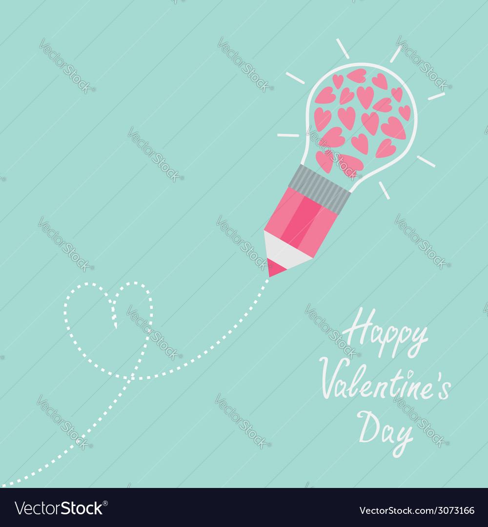 Pencil with light bulb and hearts inside dash line vector | Price: 1 Credit (USD $1)