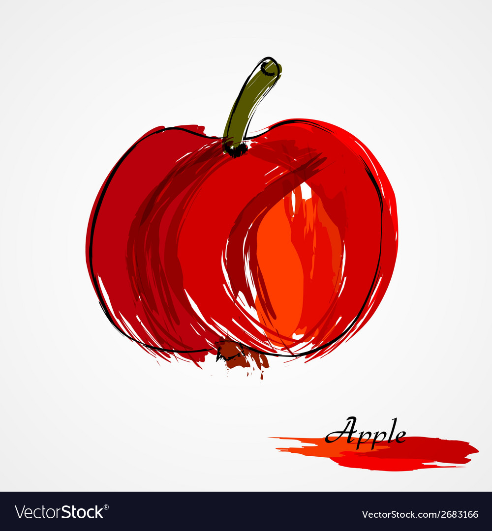 Red apple fruit vector | Price: 1 Credit (USD $1)