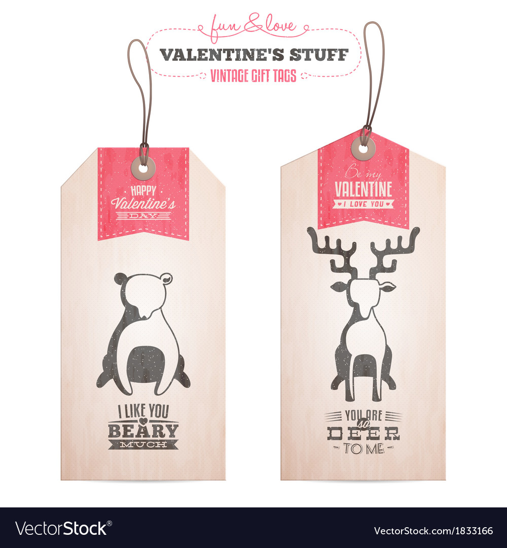 Set of vintage valentines day gift tags vector | Price: 1 Credit (USD $1)