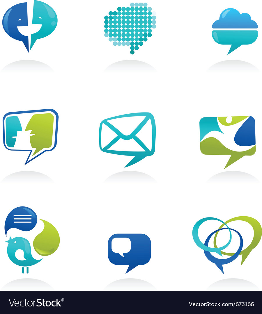 Social media and speech icons vector | Price: 1 Credit (USD $1)