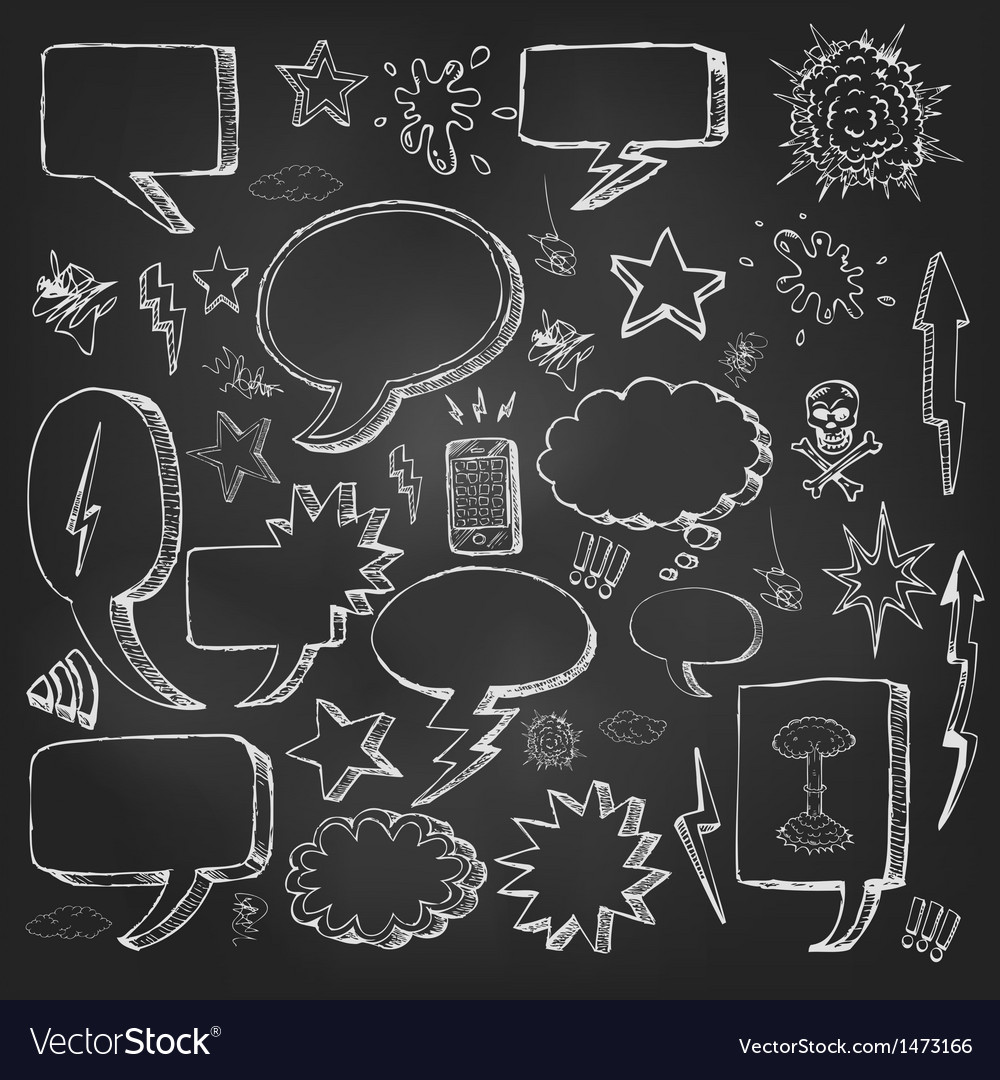 Speech bubbles doodles in black chalkboard vector | Price: 3 Credit (USD $3)