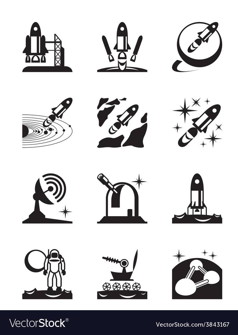 Aerospace mission set of icons vector | Price: 1 Credit (USD $1)