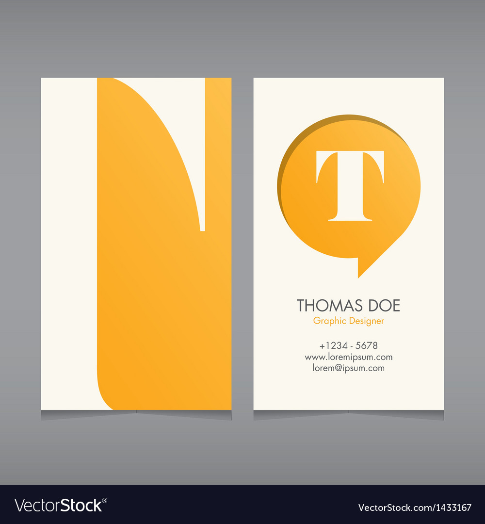 Business card template letter t vector | Price: 1 Credit (USD $1)