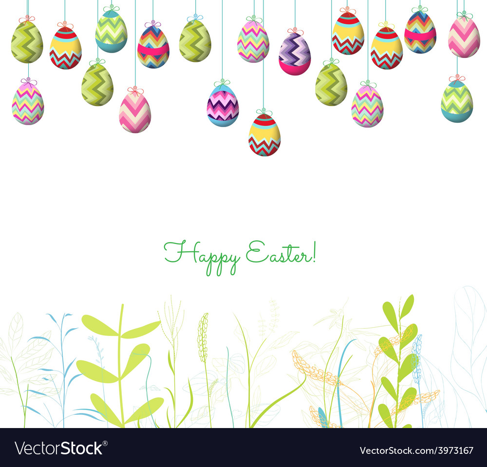 Easter eggs hanging on the wire and florals vector   Price: 1 Credit (USD $1)