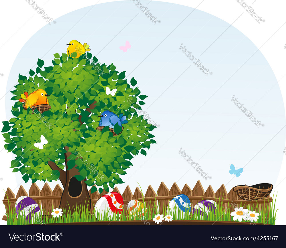 Easter landscape vector | Price: 3 Credit (USD $3)